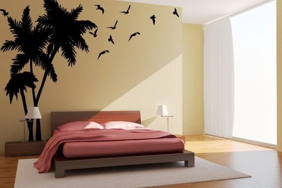 Large Palm Tree wall decal, Tropical Trees, Seagulls-Birds Vinyl Wall Art Decals, Beachy decor, Coastal decor