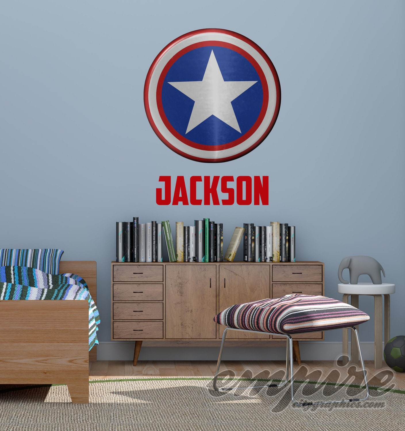 Superhero Shield Wall Decal Captain Shield Custom Name Etsy