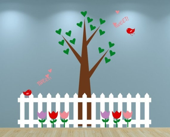 Tree with Birds Hearts Flowers and Picket Fence Vinyl Decal