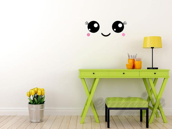 kawaii faces wall decals, kawaii style decals, happy faces, emoji decals