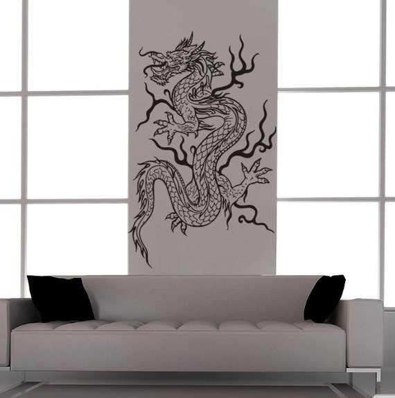 Asian Dragon Vinyl Decal Tattoo Style-Feng Shui-Vinyl Wall Art