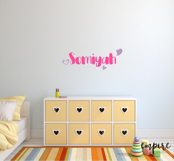 Girl Nursery Decal-Personalized Name Decal-Girls Name with Hearts-Girls Bedroom Decor-Girls Vinyl Decal-Girls Wall Decor-Girls Monogram-Pink