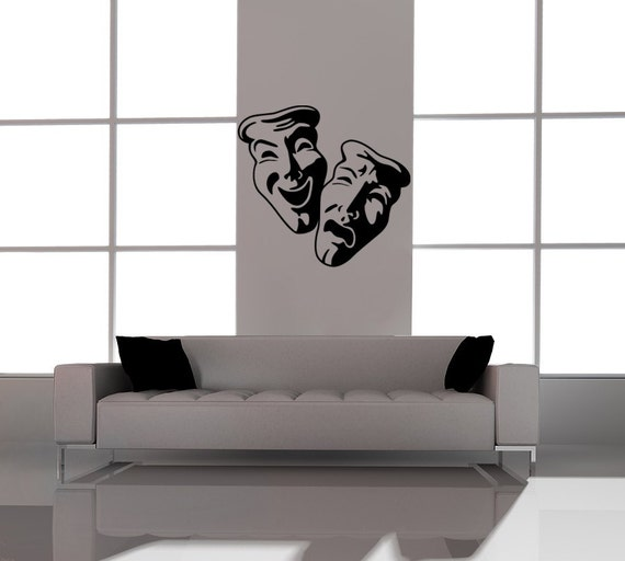 Comedy Tragedy Masks, tragedy comedy Vinyl Decal Wall Art