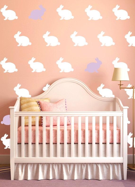 Bunny Decals Rabbit Decals Girls or Boys Nursery Rabbit Vinyl Decals Wallpaper Stencil Easter Bunny