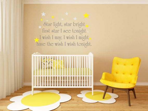 Star Light Star Bright First Star I see tonight decal, Nursery Rhymes decals, childrens nursery rhyme wall art, stars decals