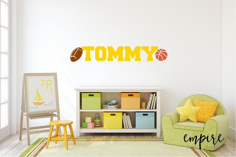 Football Name Decal-Basketball Name Decal-Boys Custom Name image 0