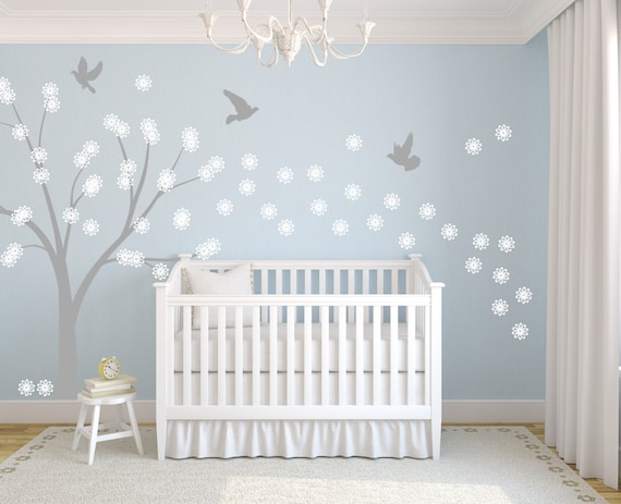 Vinyl Decal Wall Art Sticker Tree Flowers and Doves