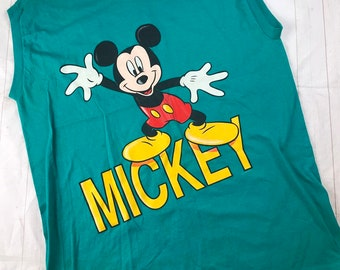 7ca0176b6d4b15 Vintage 90s Mickey Unlimited Mickey Mouse Sleeveless T Shirt New Old Stock  Made in USA Mens Size L Turquoise Disney 1990s
