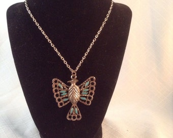 Vintage Silver Tone and Faux Turquoise Phoenix Bird Necklace  Silver Chain Tribal Aztec Southwestern Boho
