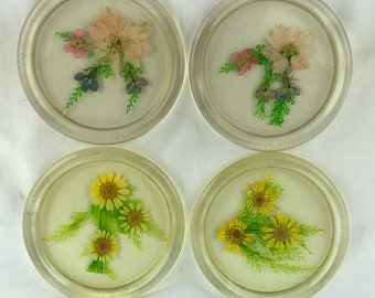 Vintage 70's Lucite Plastic Pressed Flower Coasters Set of Four