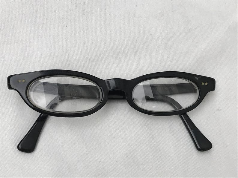 79274fcdc450 Vintage 1950s Swan Cat Eye Glasses Black Plastic Small Oval