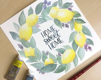 Home Sweet Home Lemon Wreath Print