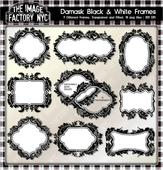 Damasco negro y blanco Clipart marcos para etiquetas   Etsy
