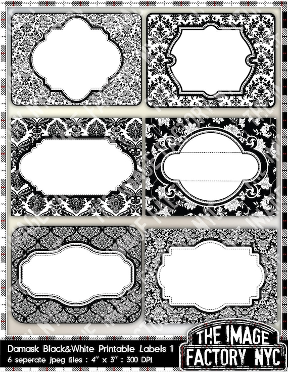 black and white damask printable labels tags for gift tags etsy