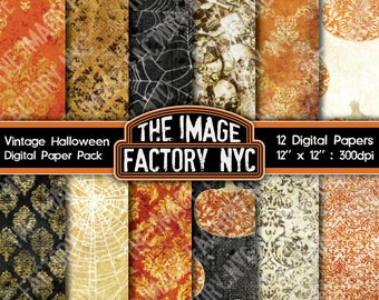 Vintage Distressed Halloween Digital Paper Pack Collection-Download and Print (TIFNYC-VHWNPP-3)