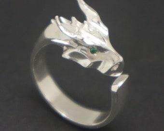 e1c9f57bb39d Silver Dragon Head Ring - Dragon Jewelry, Dragon Gift, Fantasy Jewelry,  Dragon Lovers Gift, Dragon Scale Wing, Dragon Jewellery