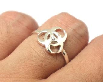 Radioactive Raspberry Owl Skull Ring Handmade Resin Glow In the Dark Witch Pagan Rave Jewelry
