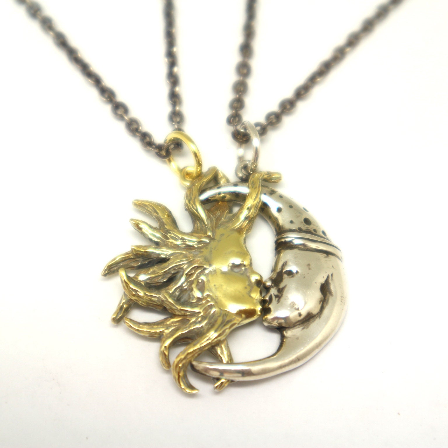 f6094a2b41 Silver Sun and Moon Couple Necklaces Sun and Moon Jewelry   Etsy