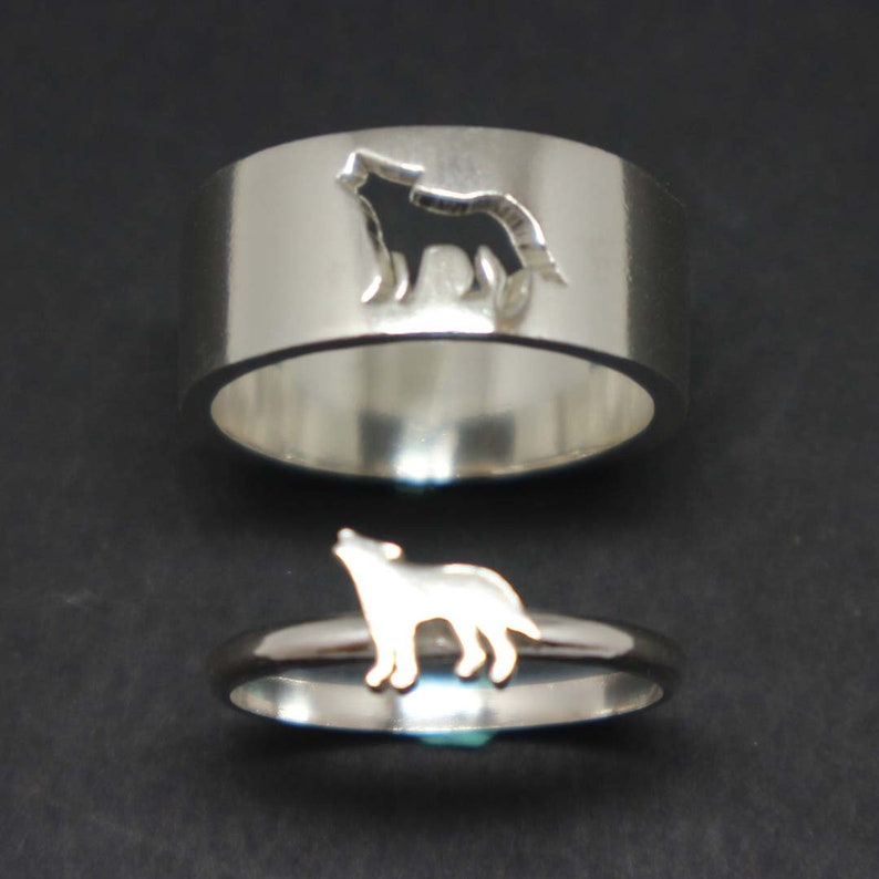 Wolf Couple Set Promise Ring  Wolf Jewelry His and Her Wolf image 0