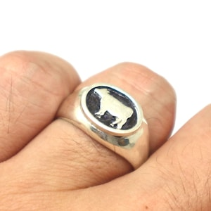 Vegan Gift Animal Ring Animal Jewelry Gift for Cow Lovers Owner Silver Cow Cattle Ring Best friend Cow Jewelry for Kid Daughter