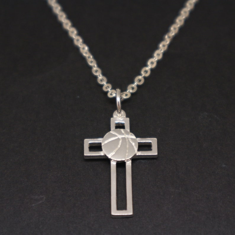 92e6bee2a8df Basketball and Cross Necklace Basketball Jewelry Basketball