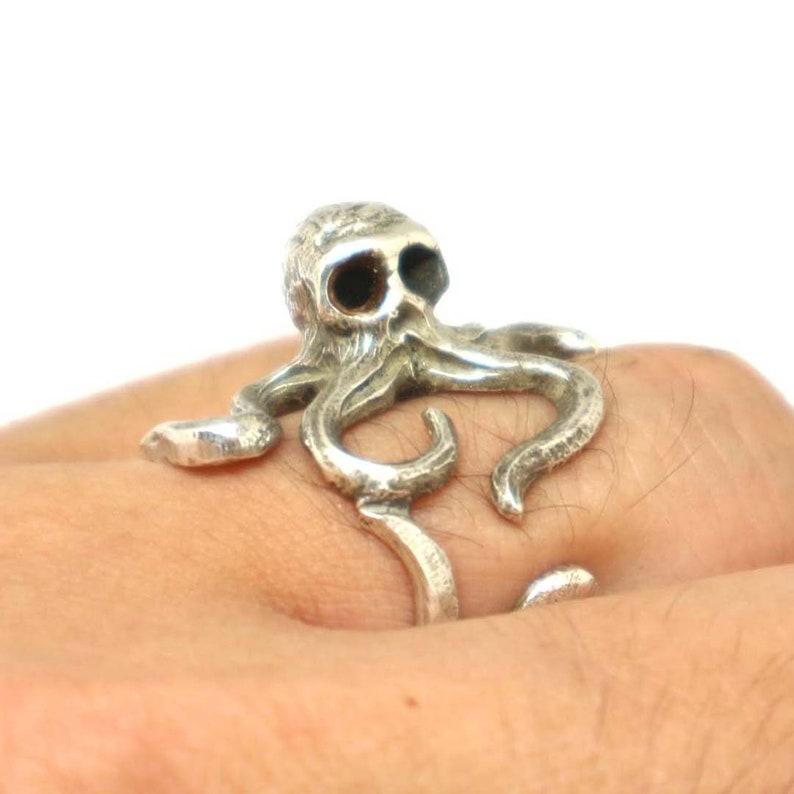 67ee298f8ad Lhomme pieuvre Skull Ring bague en argent Sterling Unique