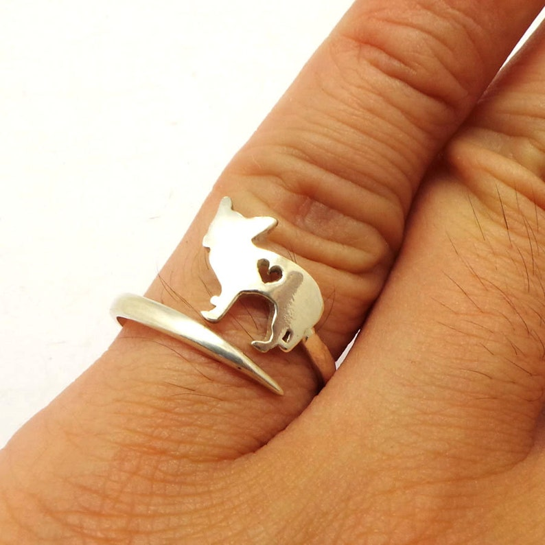 925 Silver Dog Chihuahua Wrap Ring Jewelry National Pet Day Dog Wrap Around Ring Doxie Jewelry Chihuahua Jewelry Pet Jewelry
