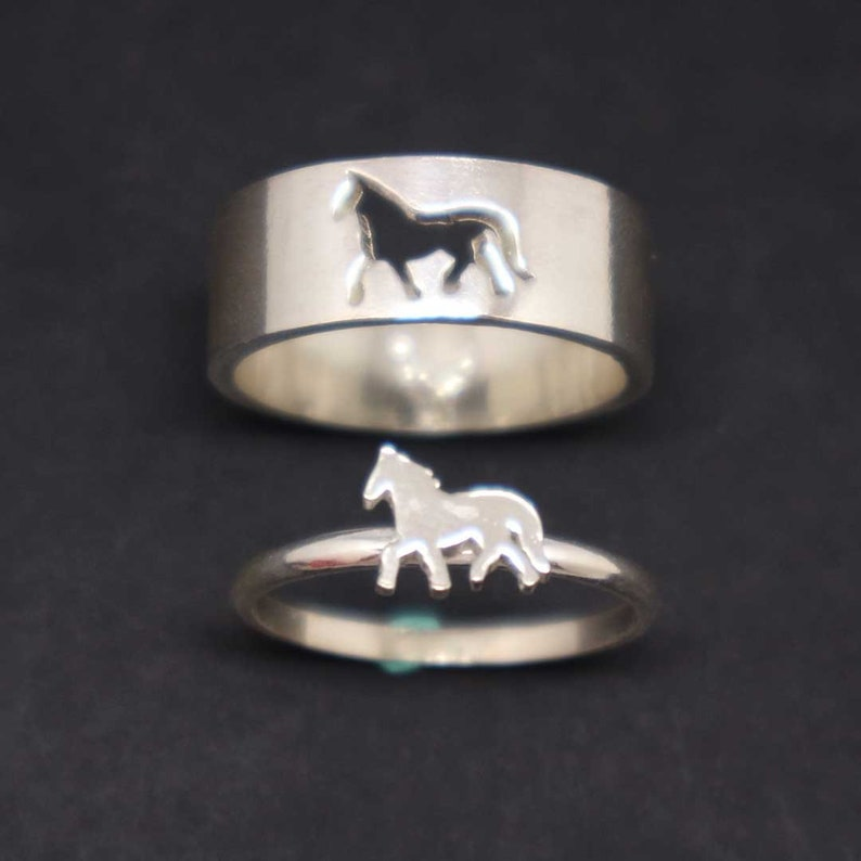ff64cb2ebe Horse Couple Set Promise Ring Horse Jewelry His and Her   Etsy