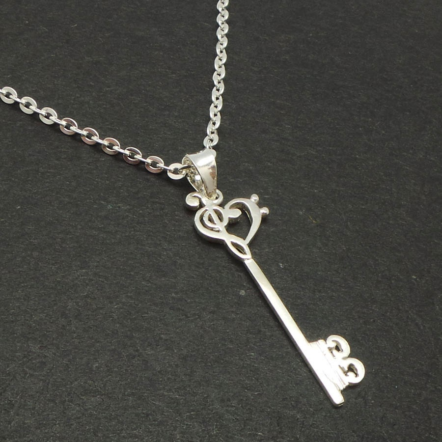Skeleton key silver music note necklace pendant treble clef zoom aloadofball Choice Image