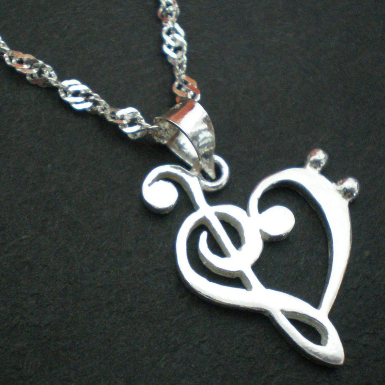 Silver Music Note Heart Necklace Treble Clef And Bass Clef Necklace Music Note Love Heart Necklace