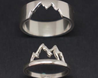 Silver Mountain Couple Ring for Men and Women - Mountain Promise Ring, His and Her Ring, Alternative Matching Ring, Nature Lovers Gift
