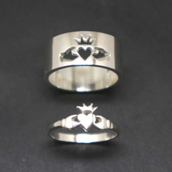 Silver Claddagh Promise Ring for Couple - His and Her Matching Stacking Ring, Alternative Engagement Wedding Ring