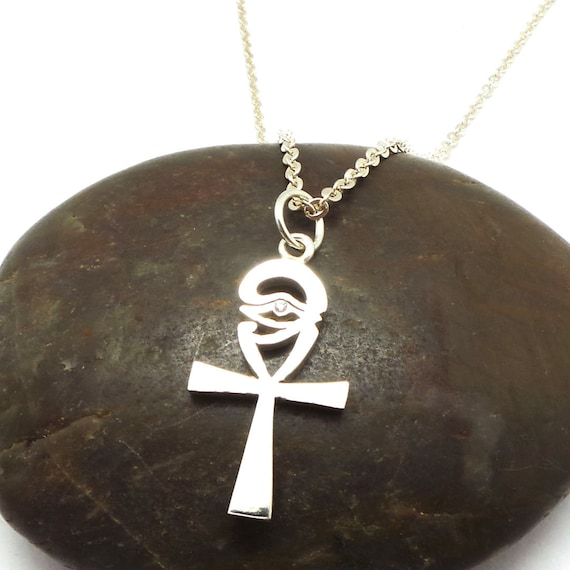 Silver Necklace Sterling Silver Eye of Horus Necklace Ra Eye Necklace Religious Necklace