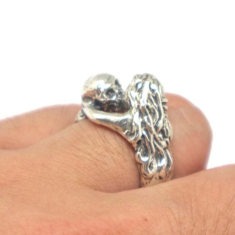 80f7b33bd Silver Kiss of Death Skull Ring Skull Ring Skull Jewelry   Etsy