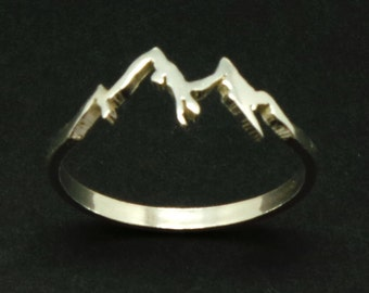 Sterling Silver Mountain Range Ring - Nature Motivation Inspirational Jewellery, Traveler Mountain Climber Lovers Gift, Mountain Biking