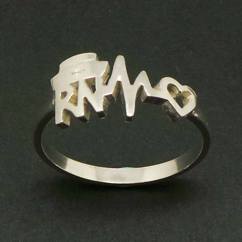 RN Registered Nurse Heartbeat Ring Gift For Doctor Nurses