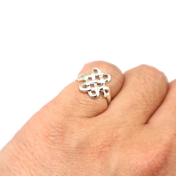 Silver Mystic Knot Ring Endless Chinese Knot Ring Eternal Etsy