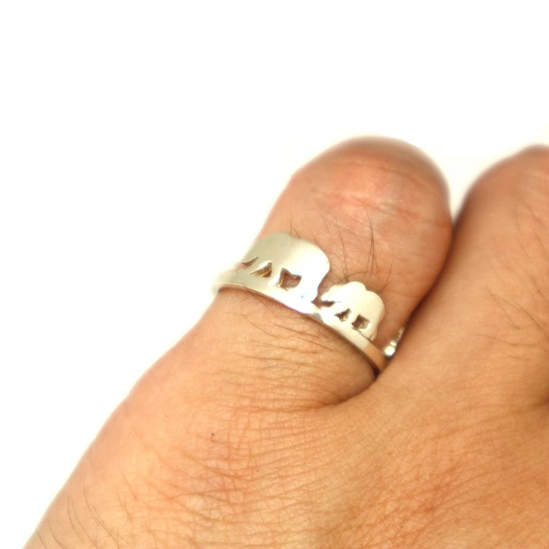 Travel Ring Traveler Unique Outdoor Gift Hiker Silver Bear Mountain Pine Tree Ring Climbers Mother Daughter Bear and cub Jewelry