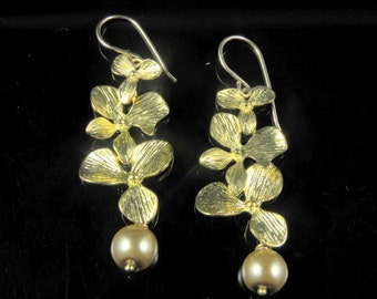 be393ae03f Gold Orchid Cascade and Pearl Earrings