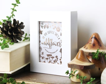 Alice In Wonderland quote ACEO, Do You Suppose She's A Wildflower? Framed Wonderland Art, Rose Gold Print, Chatty Nora, Typography Print