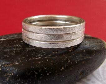 Set of 3 Sterling Silver Stacking Rings, Matte Textured Sterling Stacking Rings, Forged Silver Stacking Ring Trio
