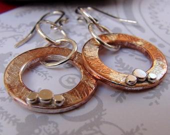 Copper and Sterling Silver Earrings, Mixed Metal Dangle Earrings, Hammered Washer Silver Splattered Drop Earrings