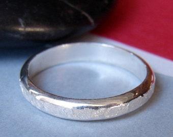 Sterling Silver Ring Band, Handmade Forged Half Dome Wedding Band, Traditional Plain Thin Narrow Ring