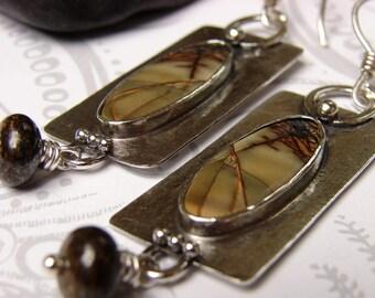 Jasper Earrings, Red River Jasper Sterling Silver Earrings, Rectangular Stone Earrings, Hand Forged Earrings, Bezel Set Bold Jasper Earrings