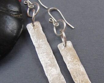 Silver Stick Earrings, Sterling Silver Metalwork Linear Bar Earrings, Textured Rectangular Sterling Silver Earrings