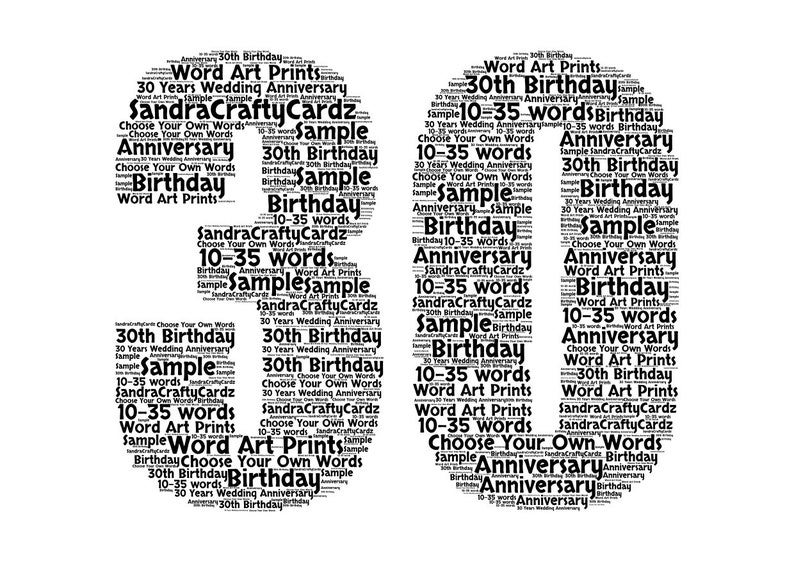 Personalised Birthday Print 30th Gift Wall Art Home