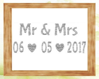 Mr & Mrs Word Art print with special date Wedding Engagement Gift, Wedding Gift, Personalised Wedding,Gift for couple, Wedding couples