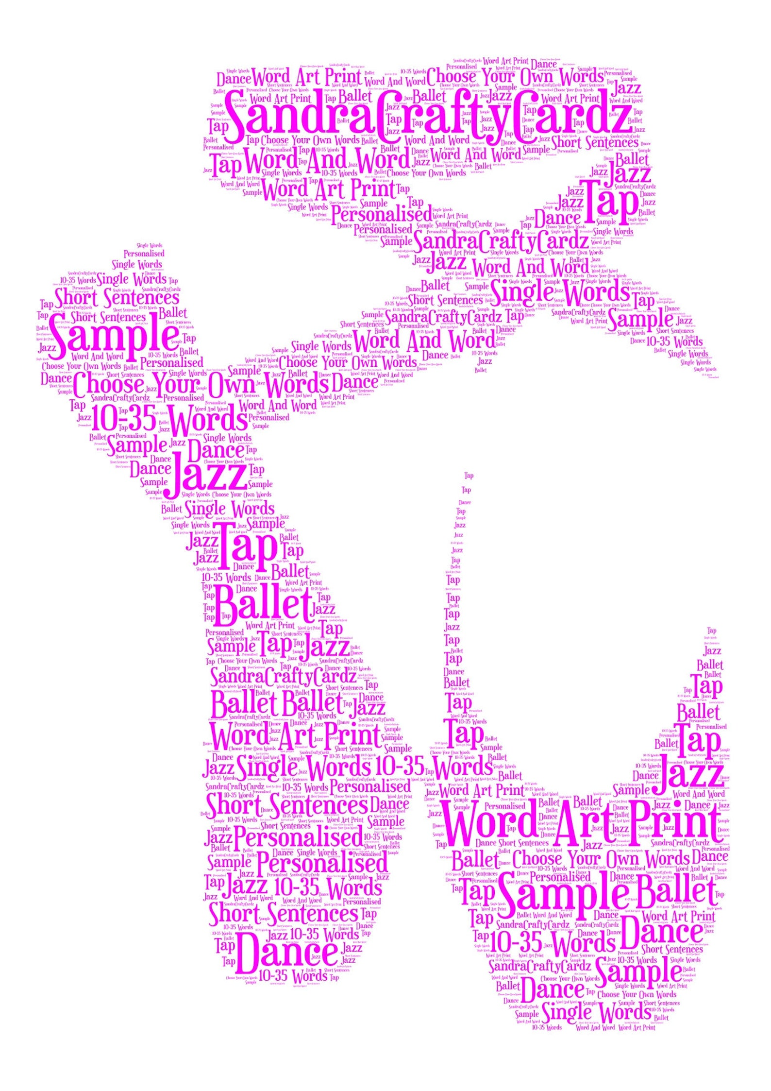 ballet shoes personalised word art print, birthday gift, ballet exam, christmas