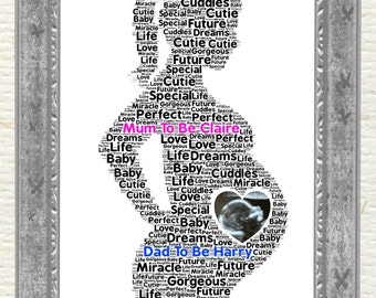 Baby Shower, Mum To Be, Dad To Be,  Personalised Gift, Word Art, Present, Gender Reveal