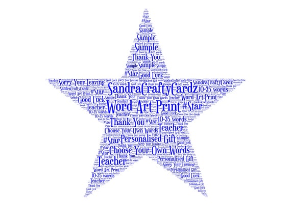 star shape personalised gift word art print thank you etsy